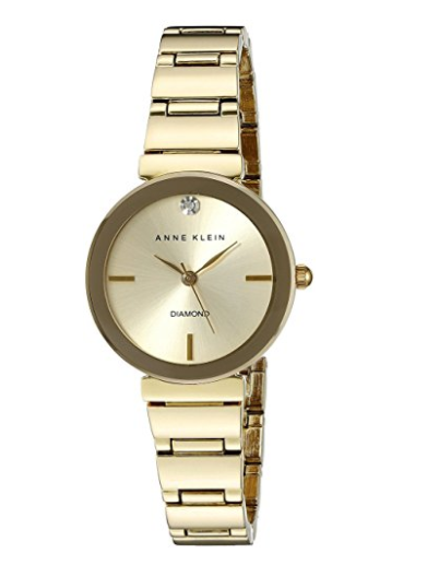 Anne Klein Women's Diamond Dial Goldtone Polished Bracelet Watch