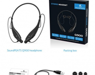 Bluetooth Headphones, SoundPEATS Wireless Headset Stereo Neckband Sport Earbuds with Mic (10 Hours Play Time, Bluetooth 4.1, Sweatproof) – [Upgraded Version of Q800]