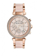 Michael Kors Mid-Size Rose Goldtone/Stainless Steel Parker Three-Hand Glitz Watch