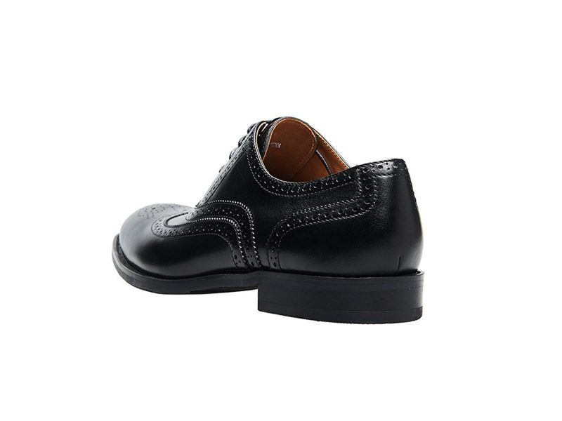 KINGSTEP Men's Business Leather Brogue Dress Shoes Pointed Toe Lace Up Oxfords