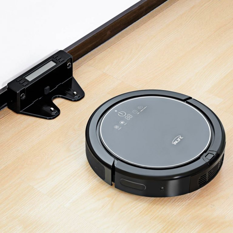 INLIFE Máy hút bụi tự động Máy hút bụi tự sạc với công nghệ Drop-Sensing, Anti-Bump, bể chứa nước, thiết kế cho sàn cứng và thảm mỏng