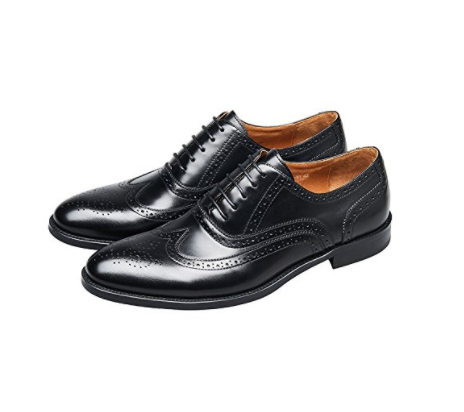 KINGSTEP Business Leather Brogue Dress Shoes Pointed Toe Lace Up Oxfords