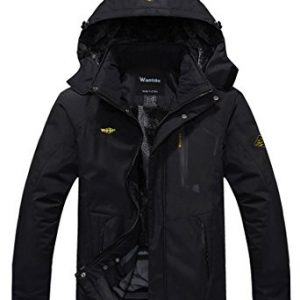 Wantdo Men's Mountain Waterproof Fleece Ski Jacket Windproof Rain Jacket