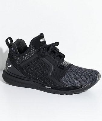 PUMA Ignite Limitless Knit Black & Silver Shoes