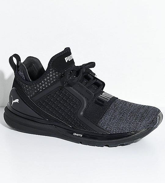 PUMA-Ignite-Limitless-Knit-Black-&-Silver-Shoes-_287103-front-US
