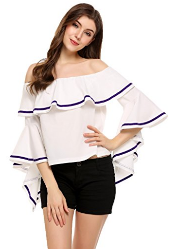 Zeagoo Women's Off The Shoulder Top Flare Sleeve Strapless Casual Blouse