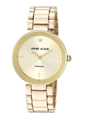 Anne Klein Women's AK1362CHGB Diamond Dial Gold-Tone Bracelet Watch