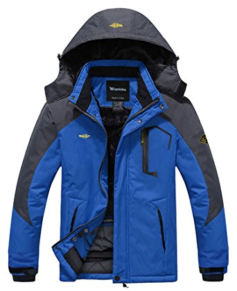 Wantdo Men's Mountain Waterproof Fleece Ski Jacket Windproof Rain Jacket