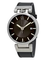 Worldly Black Dial Black Leather Men's Watch